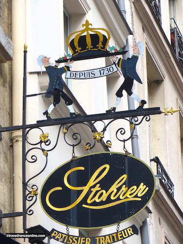 Sign Patisserie Stohrer in Rue Montorgueil