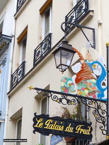 Fruit shop sign in Rue Montorgueil