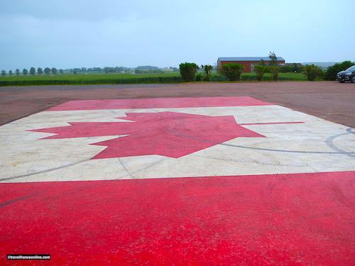 Beny-sur-mer Canadian war cemetery - Maple leaf in carpark