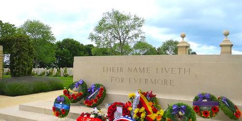 Beny-sur-mer Canadian war cemetery - Stone of Remembrance during the 75th Anniversary commemorations