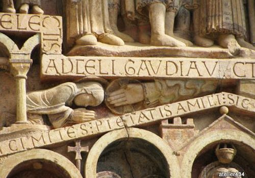 Conques - Sainte Foy being blessed by the hand of God
