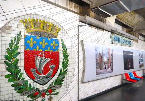 Hotel-de-Ville Metro station - Coat-of-arms of the City of Paris