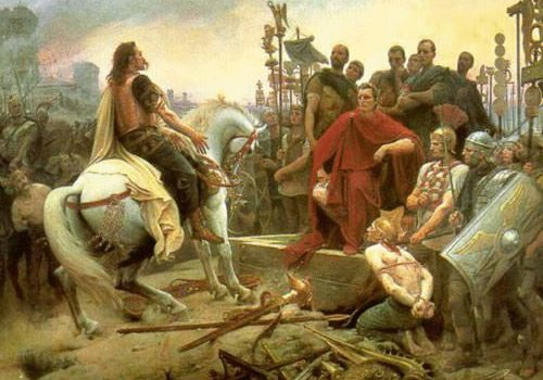 Vercingetorix surrenders to Caesar in Alesia